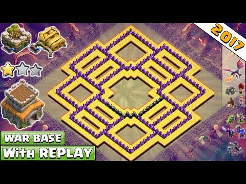 BEST! NEW Anti 2 Star Town Hall 8 (Th8) Clan-War Base 2017 With Replay Proof Vs Anti Dragon