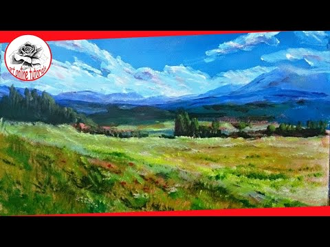 How to Paint a Landscape with acrylics step by step (SUBTITLED)