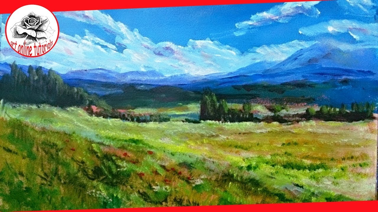 How to Paint a Landscape with acrylics step by step ...