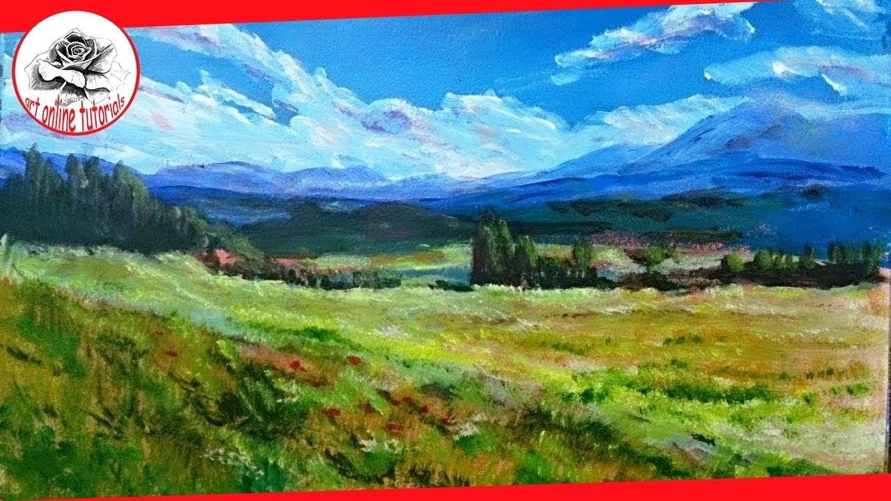 paint landscape with acrylics