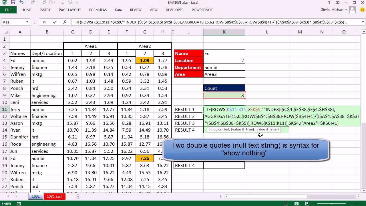 excel magic trick 1031 four way lookup formula to deliver multiple items from 1 of 2 lookup tables