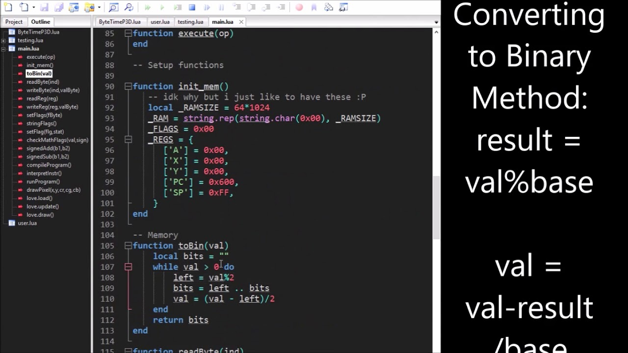Love2D - 6502 Emulator Part 1(Setting virtual memory up) [Time Lapse]