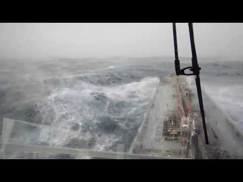 Cargo Ship In STORM Horrible FOOTAGE - 80 Foot Wave Hits Ship
