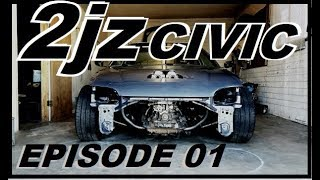2JZ swapped civic! and installing my traction bar
