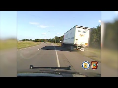 MSP Dashcam: State Trooper Stops Drunk Semi Driver Just in Time