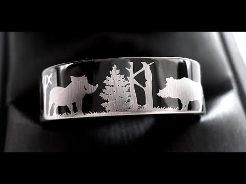 wild-boars-in-forest-landscape-pattern-engraved-black-tungsten-rings,-hunter-ring