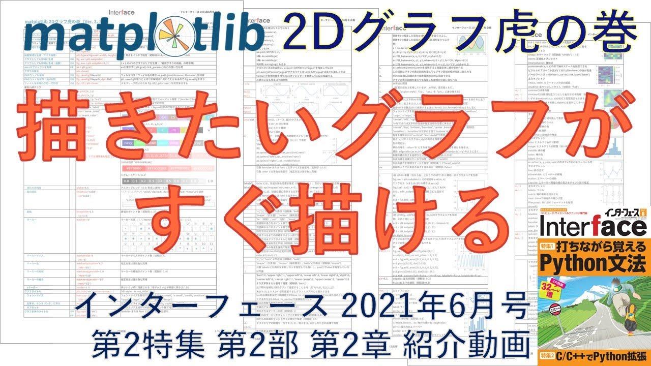 Interface2021年6月号 特集2「C/C++でPython拡張」第2部第2章「お勧め可視化ライブラリMatplotlib」紹介