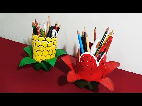 Pen Holder - How To Make Attractive Pen Holders With Plastic Bottles Specially For Kids  