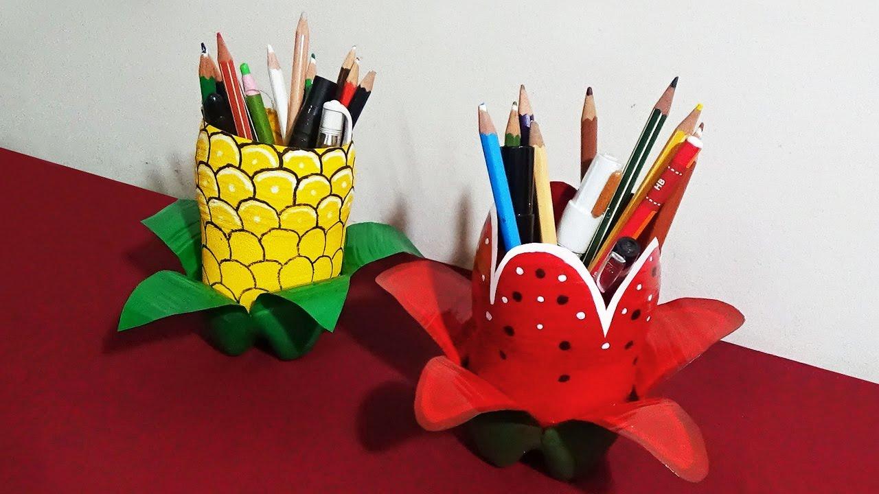 Pen Holder - How To Make Attractive Pen Holders With Plastic ... for Diy Plastic Bottle Pen Holder  131fsj
