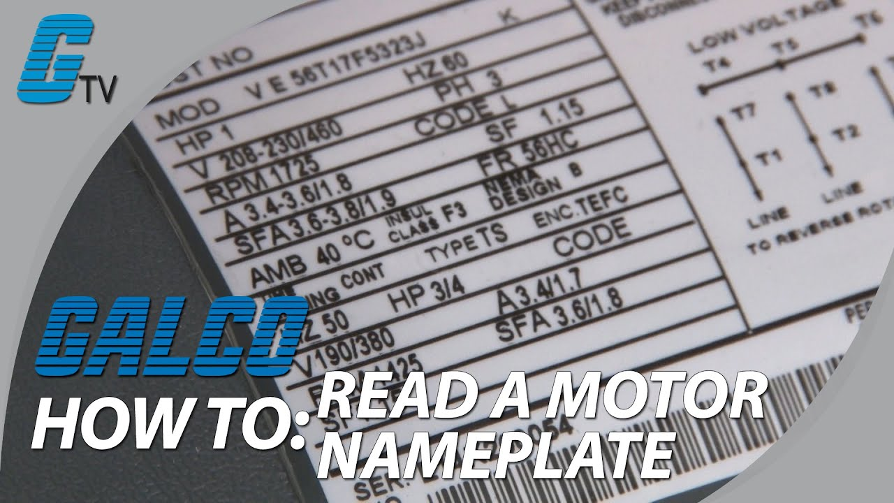 How to Read Motor Nameplate Data - YouTube