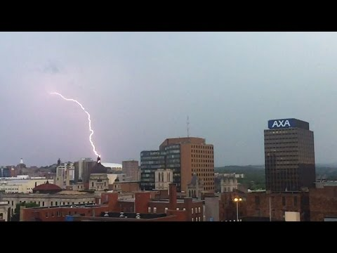 Lightning rips the Syracuse skies during a thunderstorm