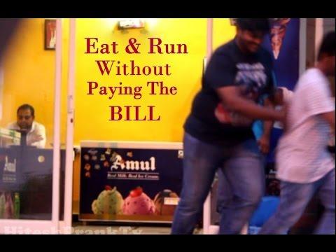 Eat And Run Without Paying The Bill Prank | HiteshPrankTv