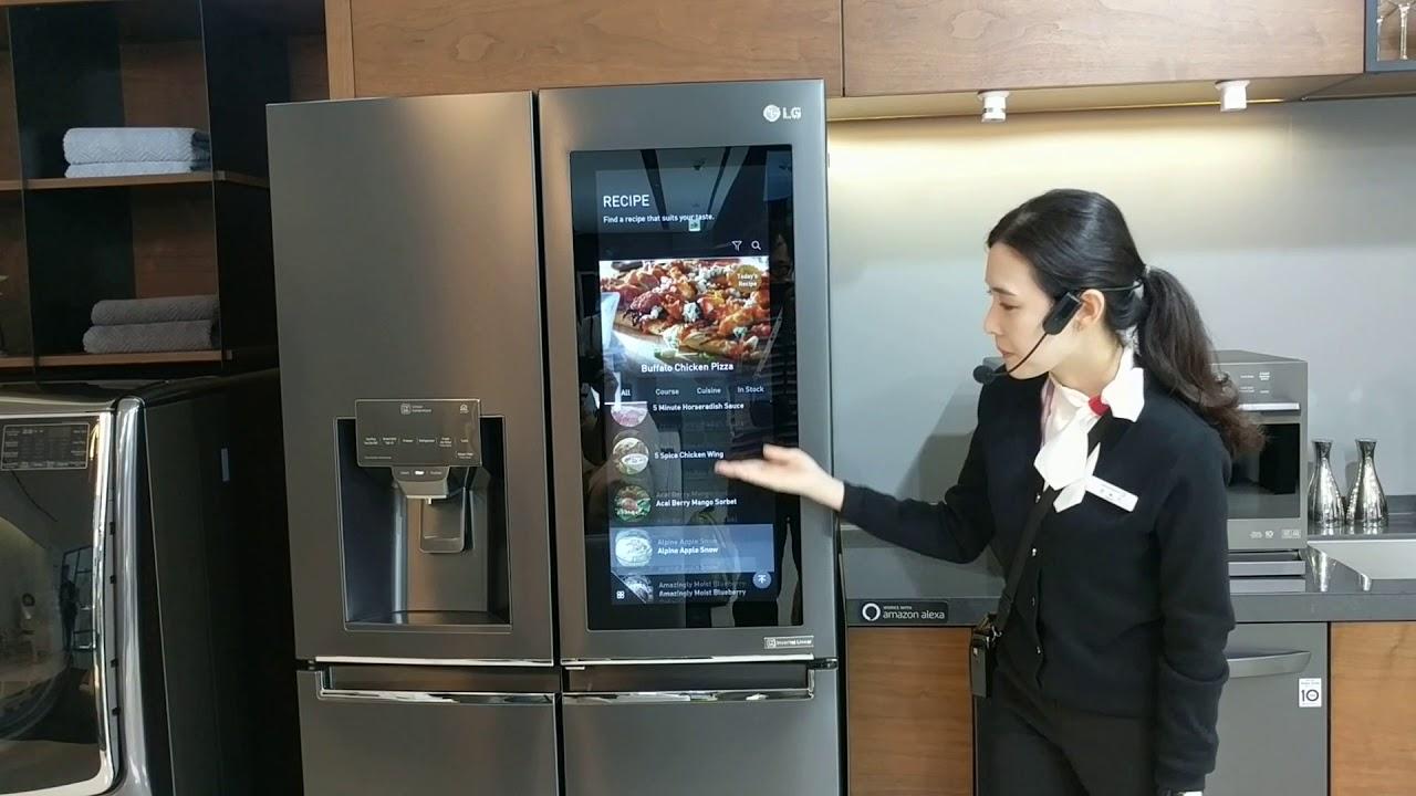 LG敲敲門冰箱加上智慧介面 - YouTube