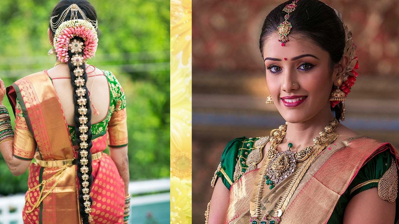south indian bridal makeup & hairstyle tutorial step by step | traditional bridal makeup for wedding