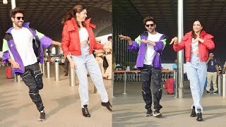Kartik Aaryan and Deepika Padukone perform Dheeme Dheeme challenge at Mumbai airport