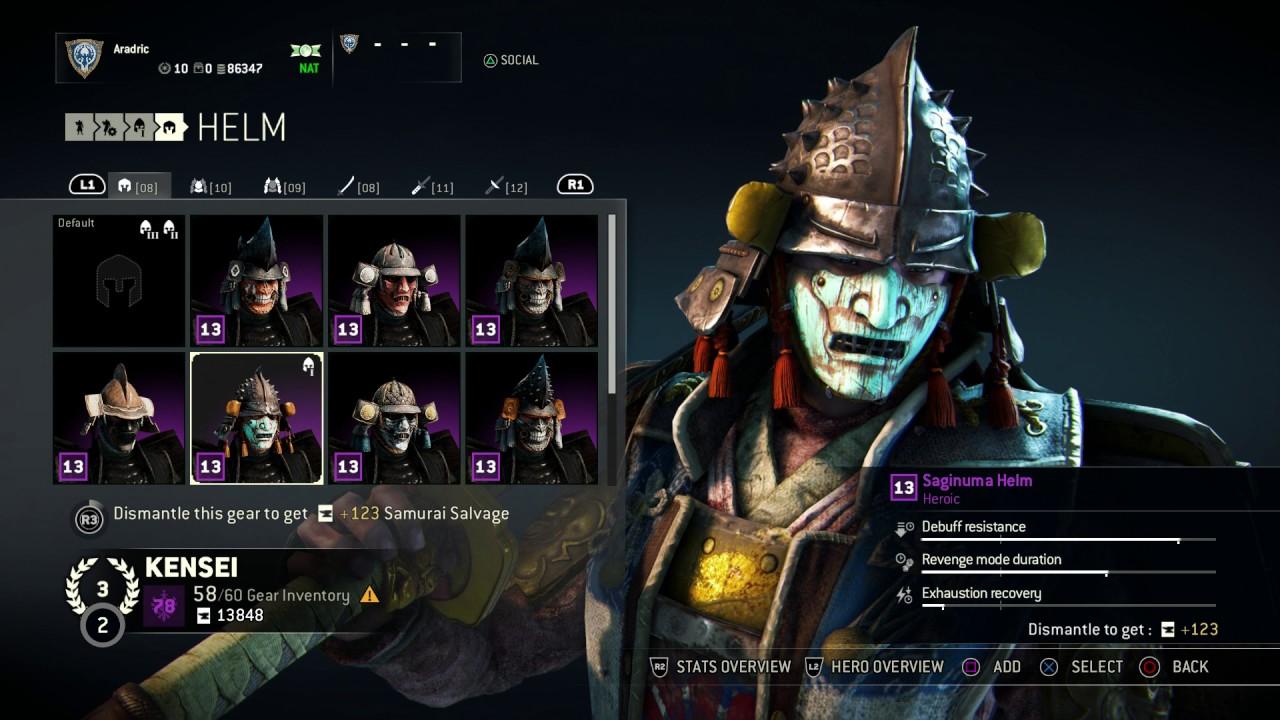 for honor kensei heroic armor set saginuma helm chest arms
