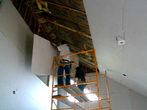 Hanging 4x12 Sheetrock On A 25 Ceiling Youtube