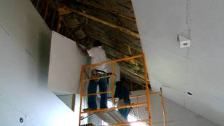 Hanging 4x12 sheetrock on a 25