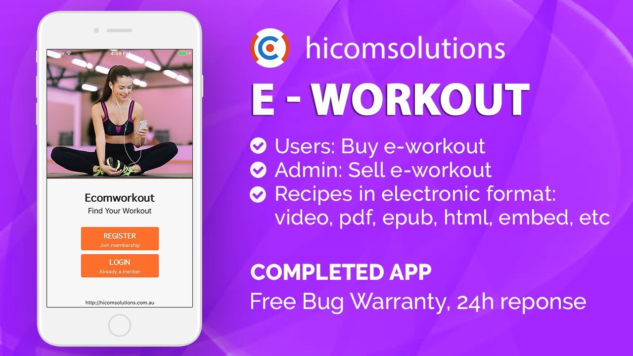 ios demo workouts fitness mobile app template script source code