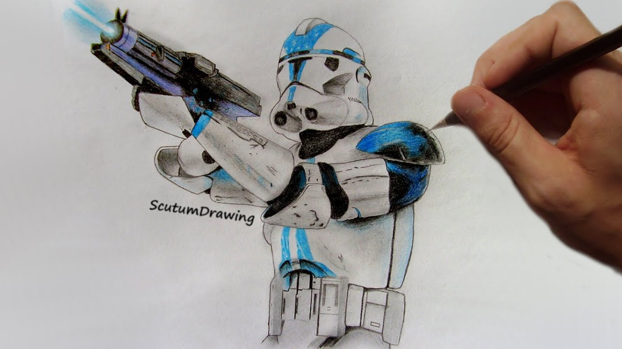 Clonetrooper Speed Drawing Timelapse Star Wars: Battlefront YouTube
