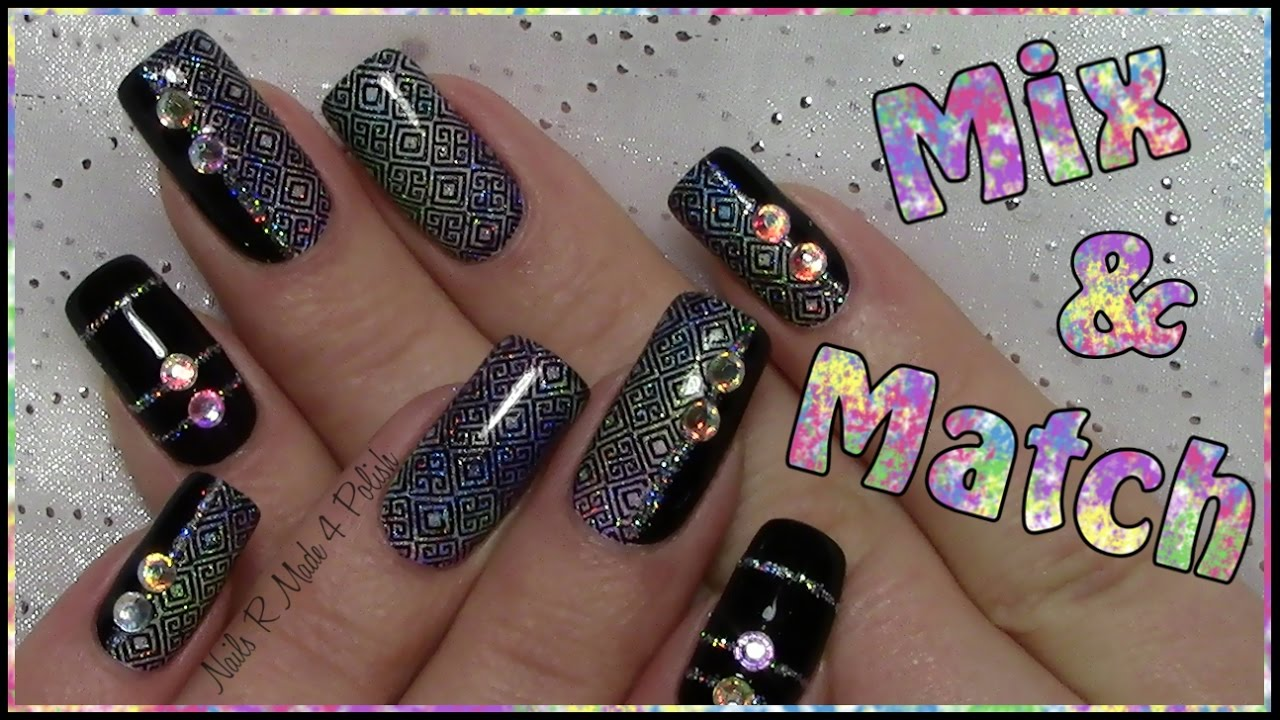 mix match n gel einfaches stamping nageldesign mit strass silvester easy new years nail. Black Bedroom Furniture Sets. Home Design Ideas