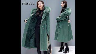 Женские куртки парки пальто с капюшоном и большим меховым воротником теплое зимнее пальто