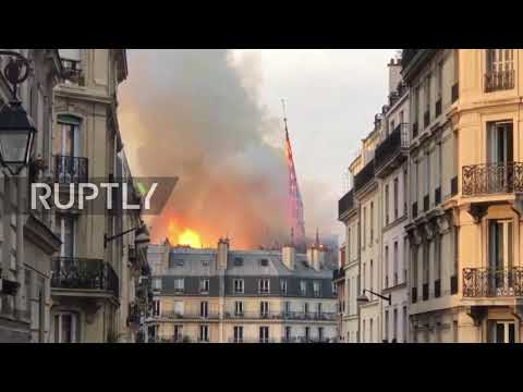France: Notre Dame spire collapses as flames rise higher and higher