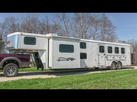 2012 Bison 8414 Trail Express 4 horse trailer w/ 14ft. living quarters walk-around tutorial video