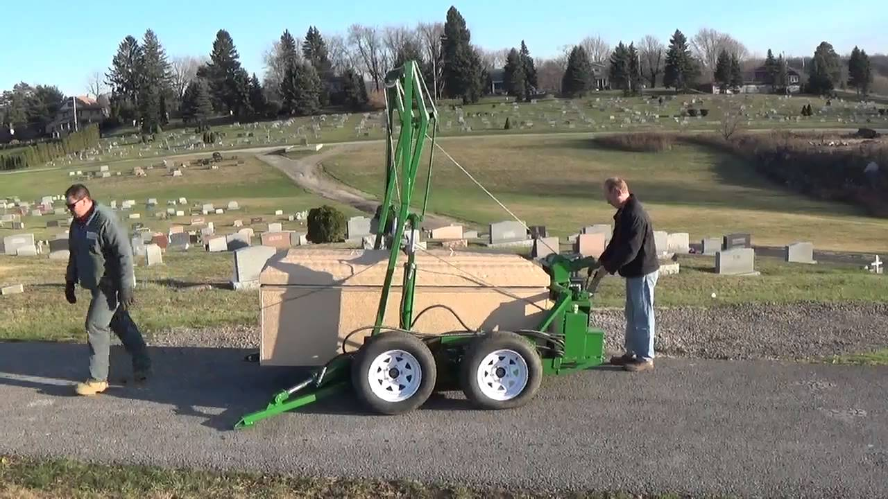 Transporting Burial Vault with Hydraulic Dolly - YouTube