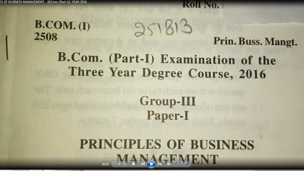 Principles Of Business Management B Com Part 1 Year 2016 Youtube