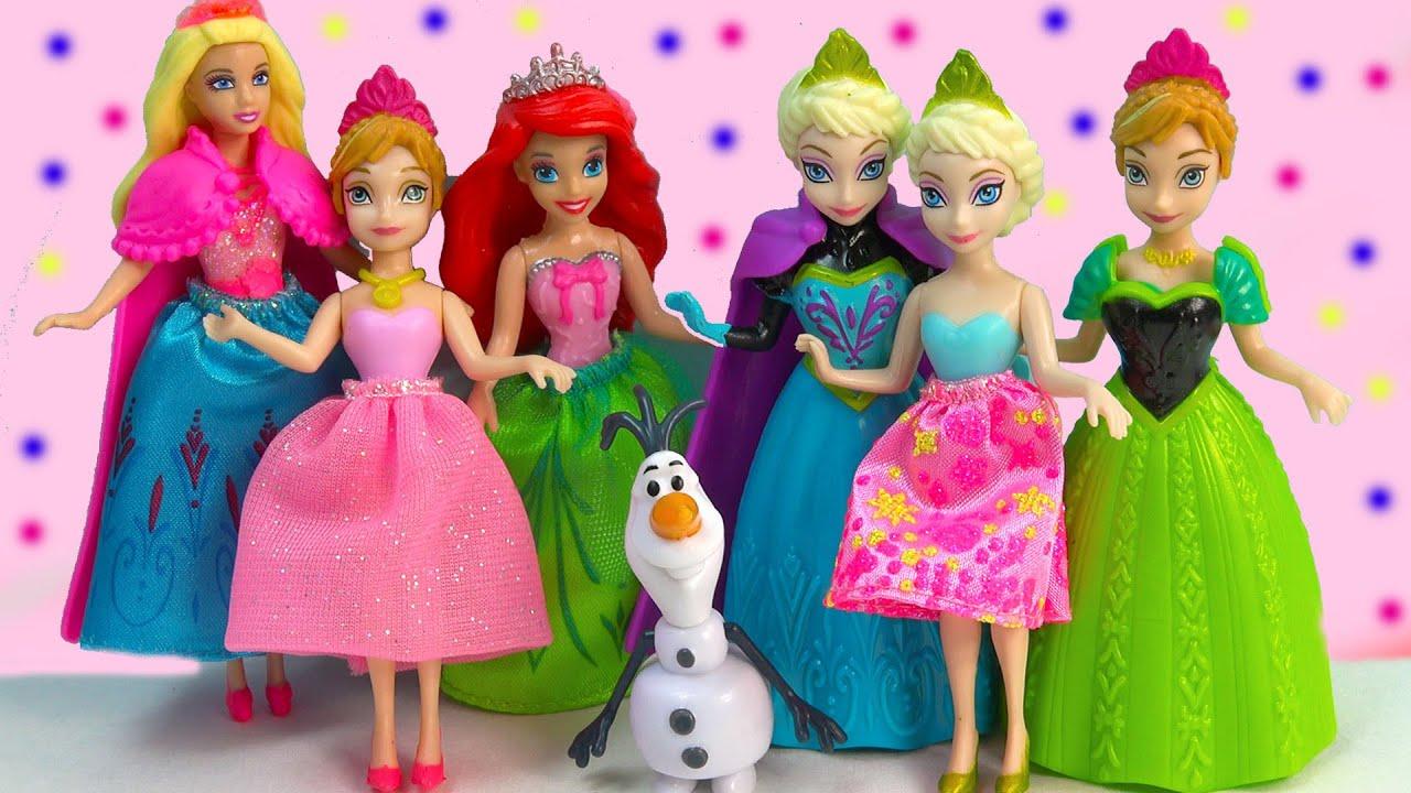 Disney Frozen Queen Elsa Magiclip Princess Anna Sisters Gift Set Olaf  Barbie Dolls Ariel Dress Up