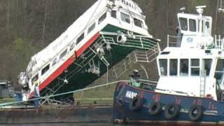 Nord-Ostsee-Kanal  Bergung nach Schiffskollision 16. April 2011 -Kiel - Rendsburg