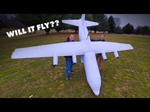 will-it-fly?-|-15-foot-c-130-hercules-cargo-plane?-😱