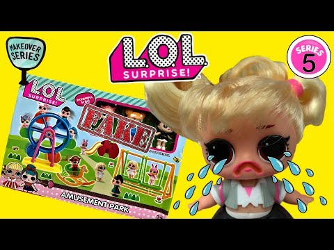 LOL Surprise #hairgoals Makeover Series 5 LOL Dolls + FAKE LOL Amusement Park For LOL Surprise Dolls