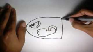 Como dibujar la Bala Mario Bros l How to draw the Mario Bros Bullet