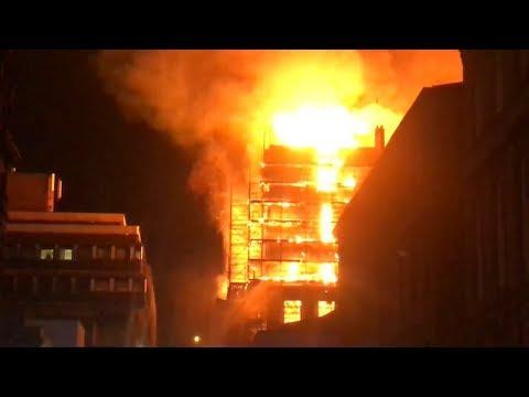 Fire engulfs art school building in Glasgow