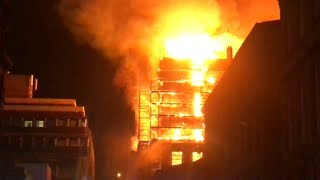 Fire engulfs art school building in Glasgow