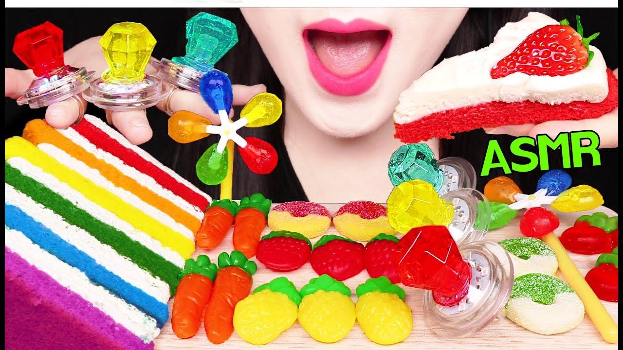 ASMR FRUITY GUMMY JELLY, RING CANDY, CAKE 무지개 보석 반지 사탕, 젤리, 케이크 먹방 EATING  SOUNDS
