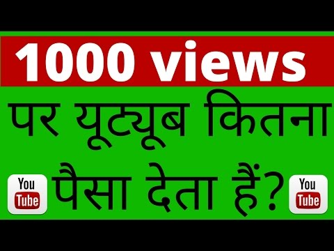 How Much Pay Money Youtube Per 1000 Views Hindi Video 2017