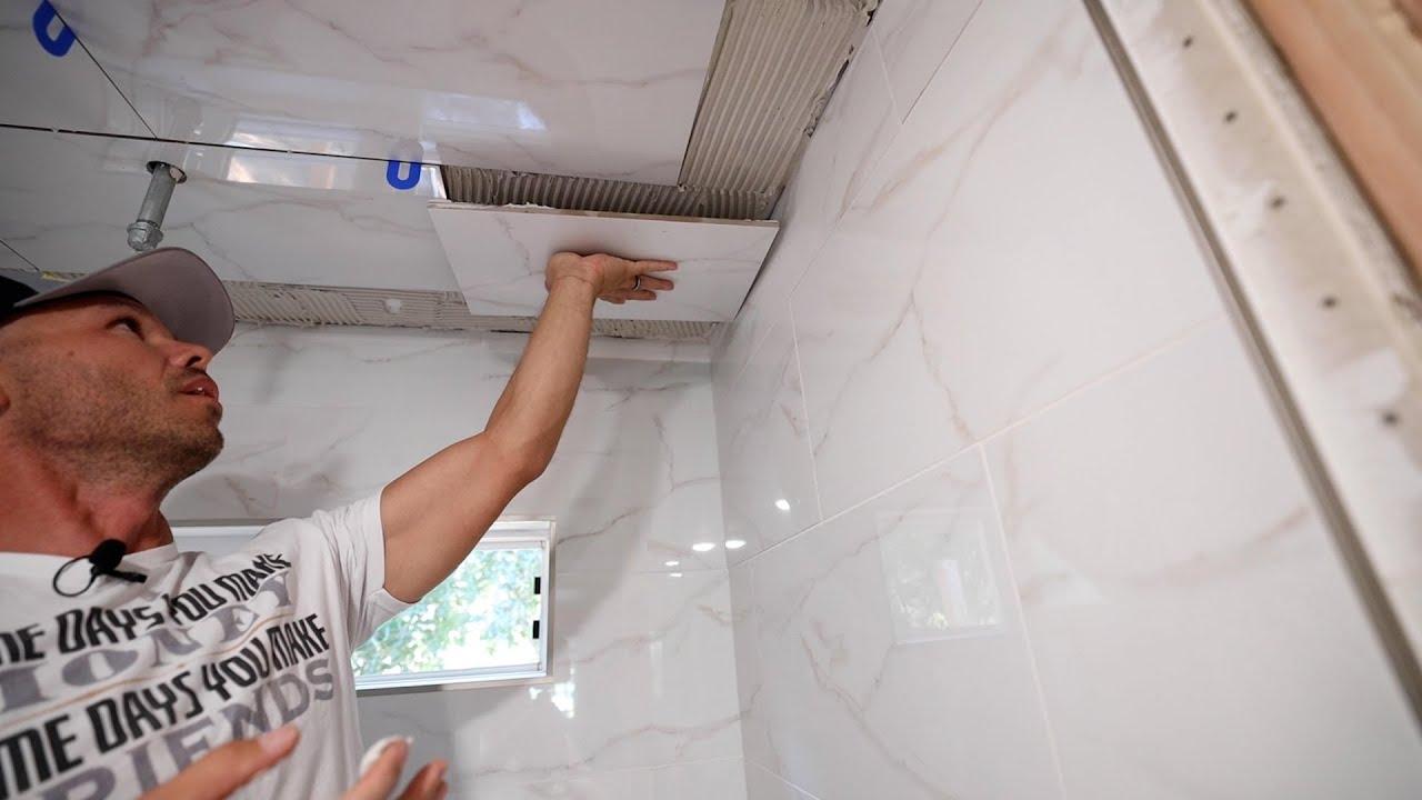 Download Tile a Shower Ceiling --- Large 12x24 Porcelain Tiles