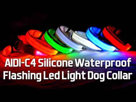 AIDI-C4 Silicone Waterproof Flashing Led Light Dog Collar | Waterproof Dog Collar