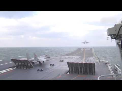 Chinese aircraft carrier Liaoning carries out drill with J-15 jets on board