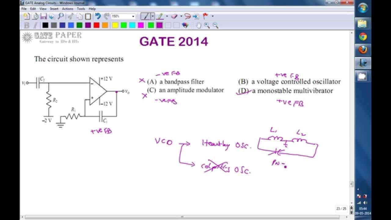 Gate 2014 Ece Monostable Multivibrator Youtube Lm741hc Operational Amplifier As An Astable Oscillator Circuit Output