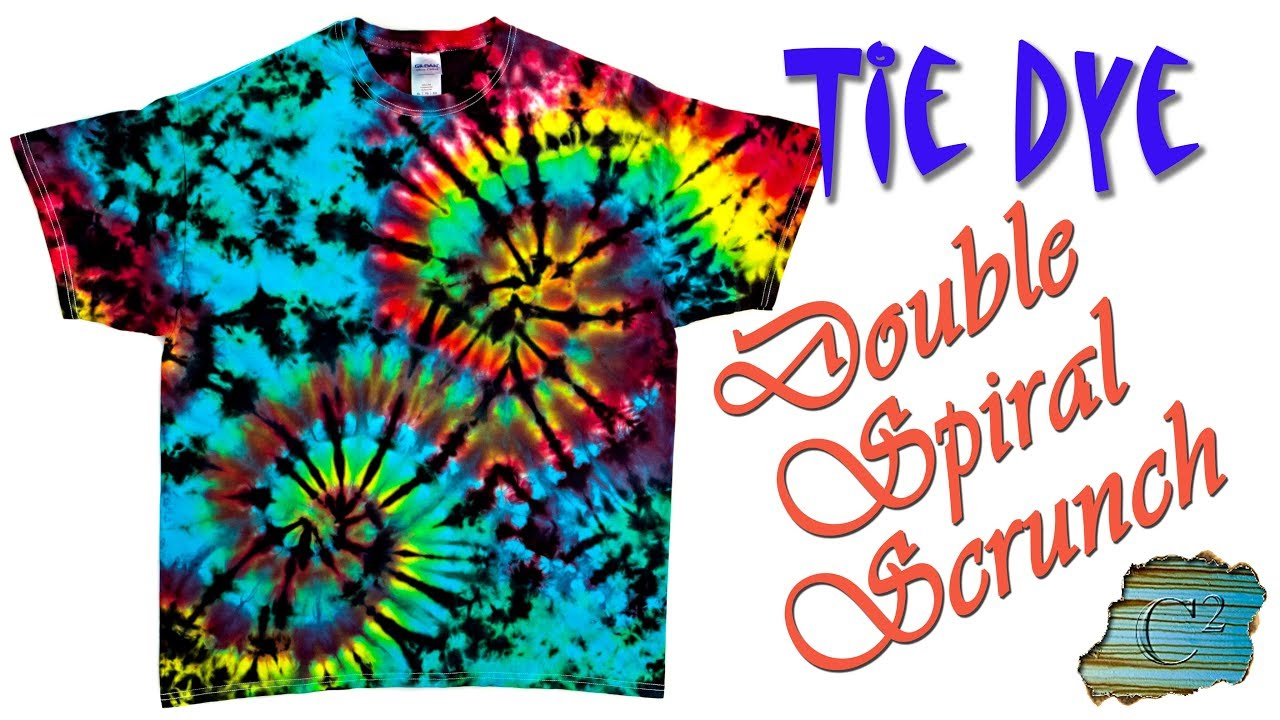 How To Tie Dye Double Spiral Scrunch Liquid Dye Youtube