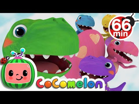 Five Little Dinosaurs | + More Nursery Rhymes & Kids Songs - ABCkidTV