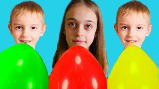 Colors Song, kids playing with Balloons - Nursery Rhyme by Elya TV