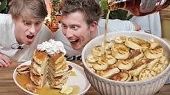 Eating 200 Pancakes!!? (GIANT Bowl of Pancake Cereal!!)