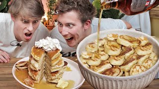Eating 200 Pancakes!!? (GIANT Bowl of Pancake Cereal!!)