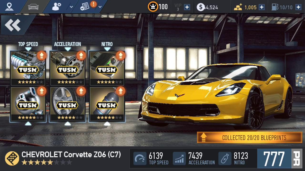CHEVROLET Corvette Z06 (C7) stage up 6 upgrade PR | NFS: No
