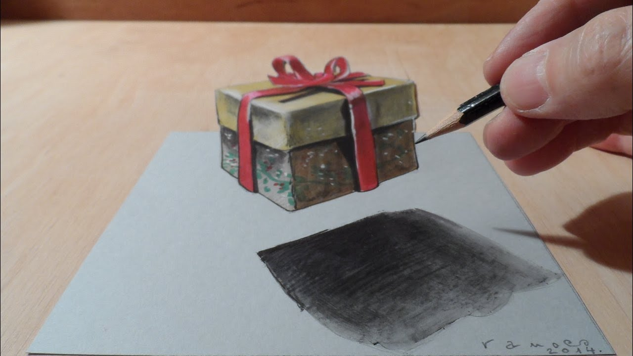 How to draw 3d gift box drawing 3d christmas gift cool 3d graphic